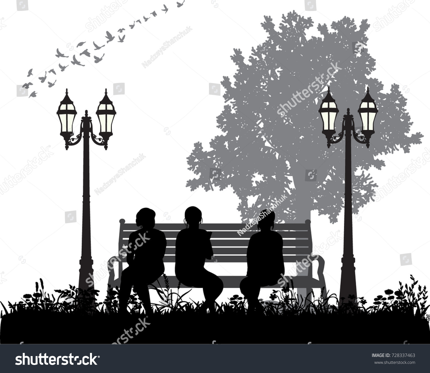 Silhouette People Sitting On Bench Stock Vector 728337463 ... for People On Bench Silhouette  575lpg