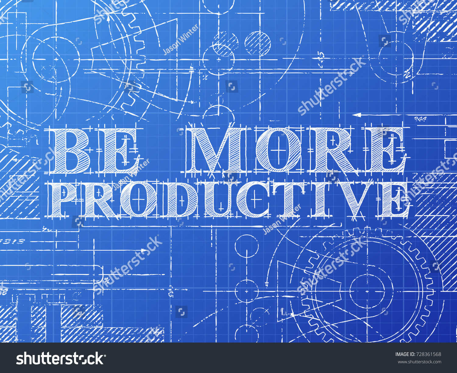 Be more productive text gear wheels stock vector 728361568 be more productive text with gear wheels hand drawn on blueprint technical drawing background malvernweather Image collections