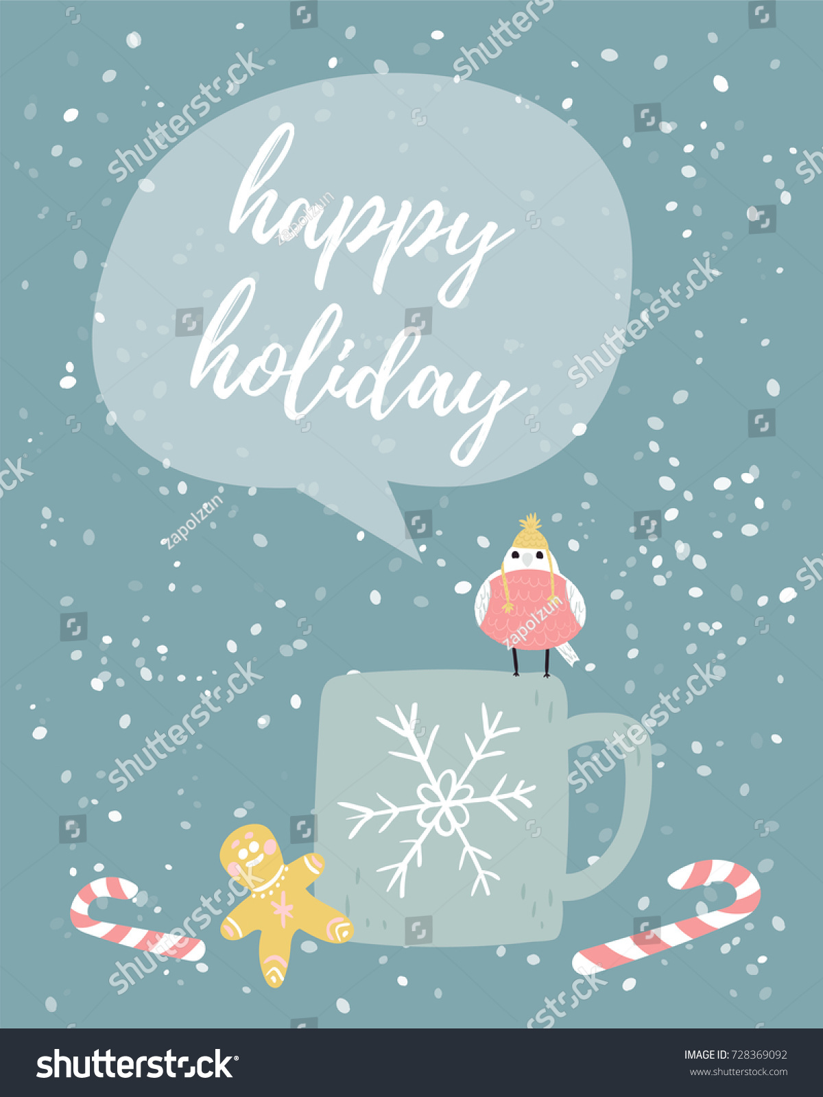 Christmas Greeting Card Small Bird Winter Stock Vector Royalty Free