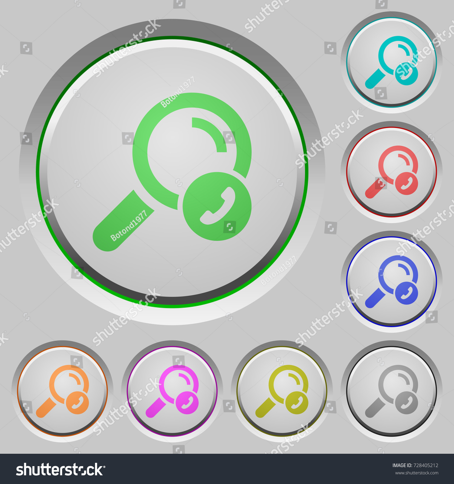 Search Phone Number Color Icons On Stock Vector (2018) 728405212 ...