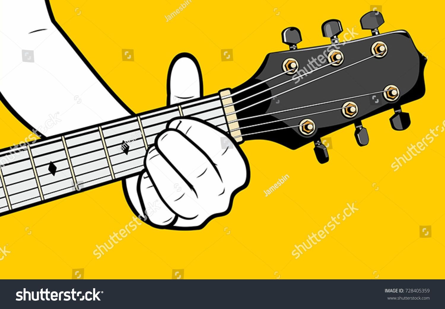 Mans Hand Playing Guitar Chord Stock Vector Royalty Free 728405359