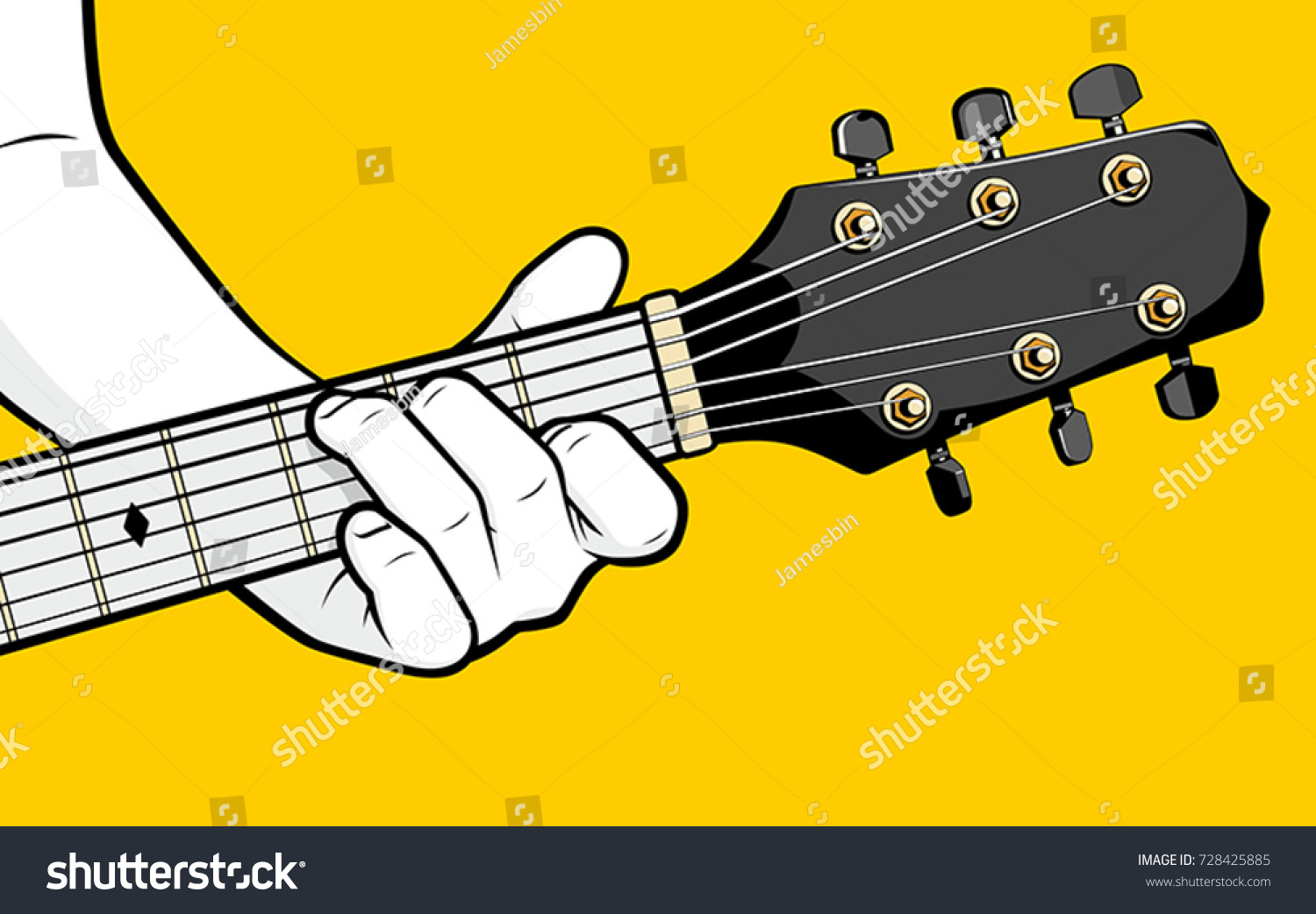 Guitar Player Hand Playing C Chord Stock Vector Royalty Free