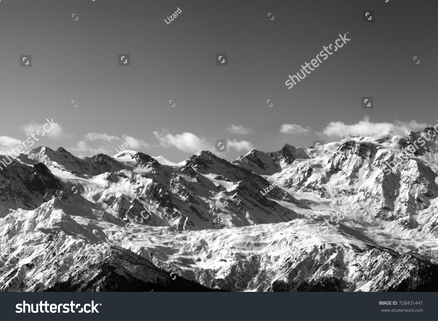 Black and white snow winter mountains in nice sunny day caucasus mountains svaneti region
