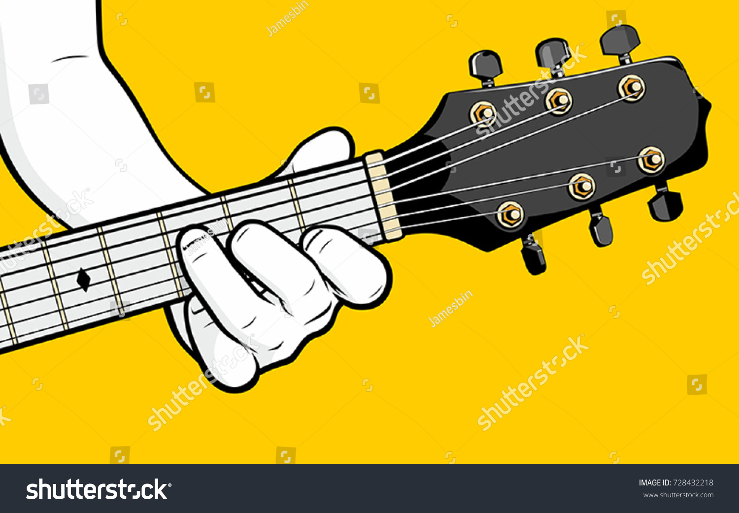Guitar Player Hand Playing F Chord Stock Vector 2018 728432218