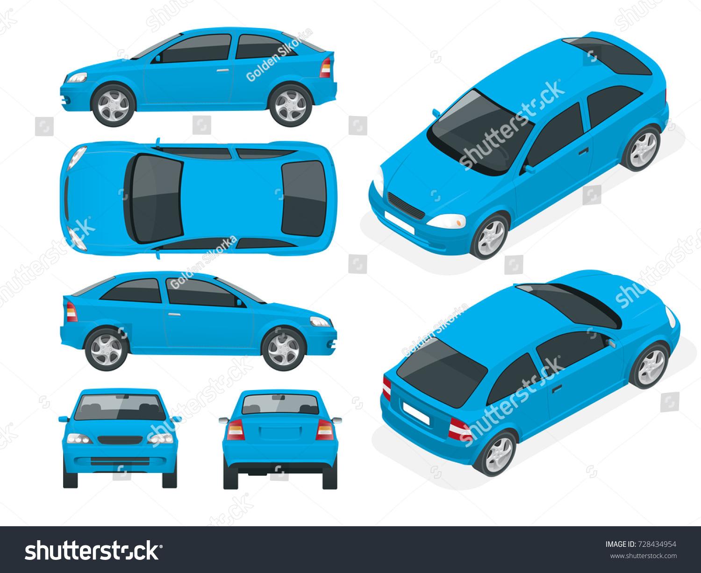 Set Sedan Cars Isolated Vehicle Template Stock Vector (Royalty Free ...