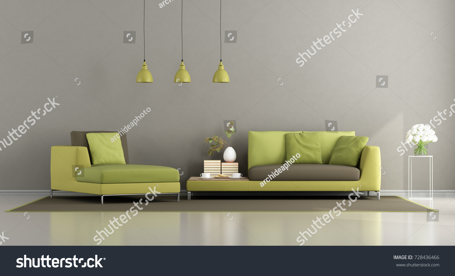 Modern Green And Brown Living Room With Sofa And Chaise Lounge   3d  Rendering Part 91