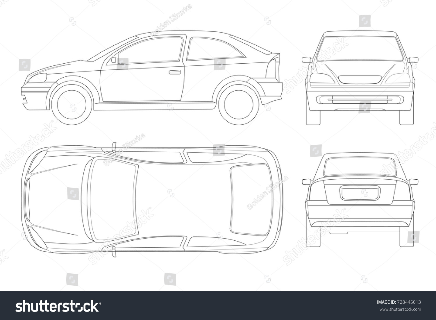 sedan car lines isolated car template stock vector royalty free