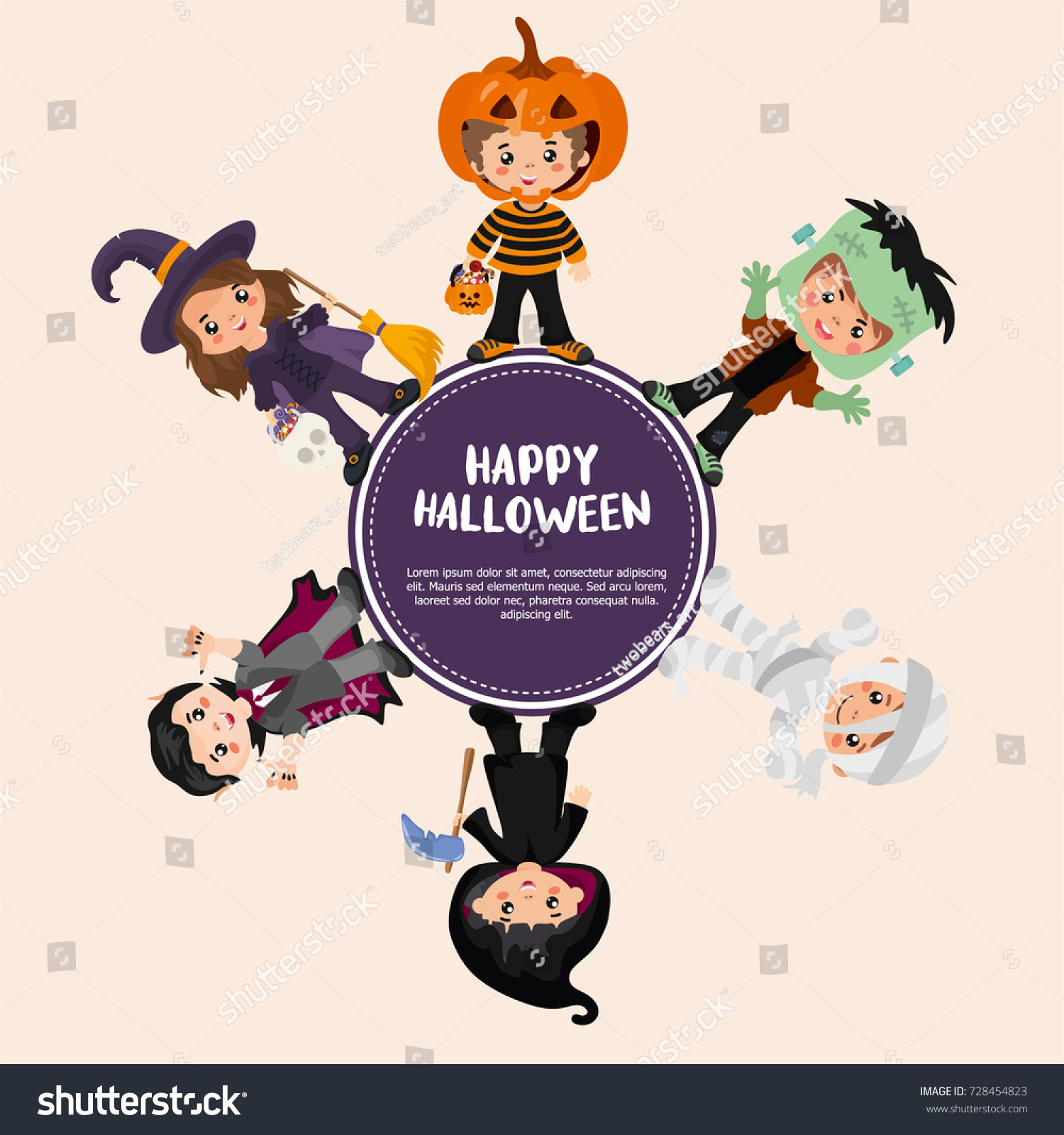 Halloween greeting card design creative frame stock vector halloween greeting card design creative frame with kids in a halloween costumes dracula kristyandbryce Choice Image