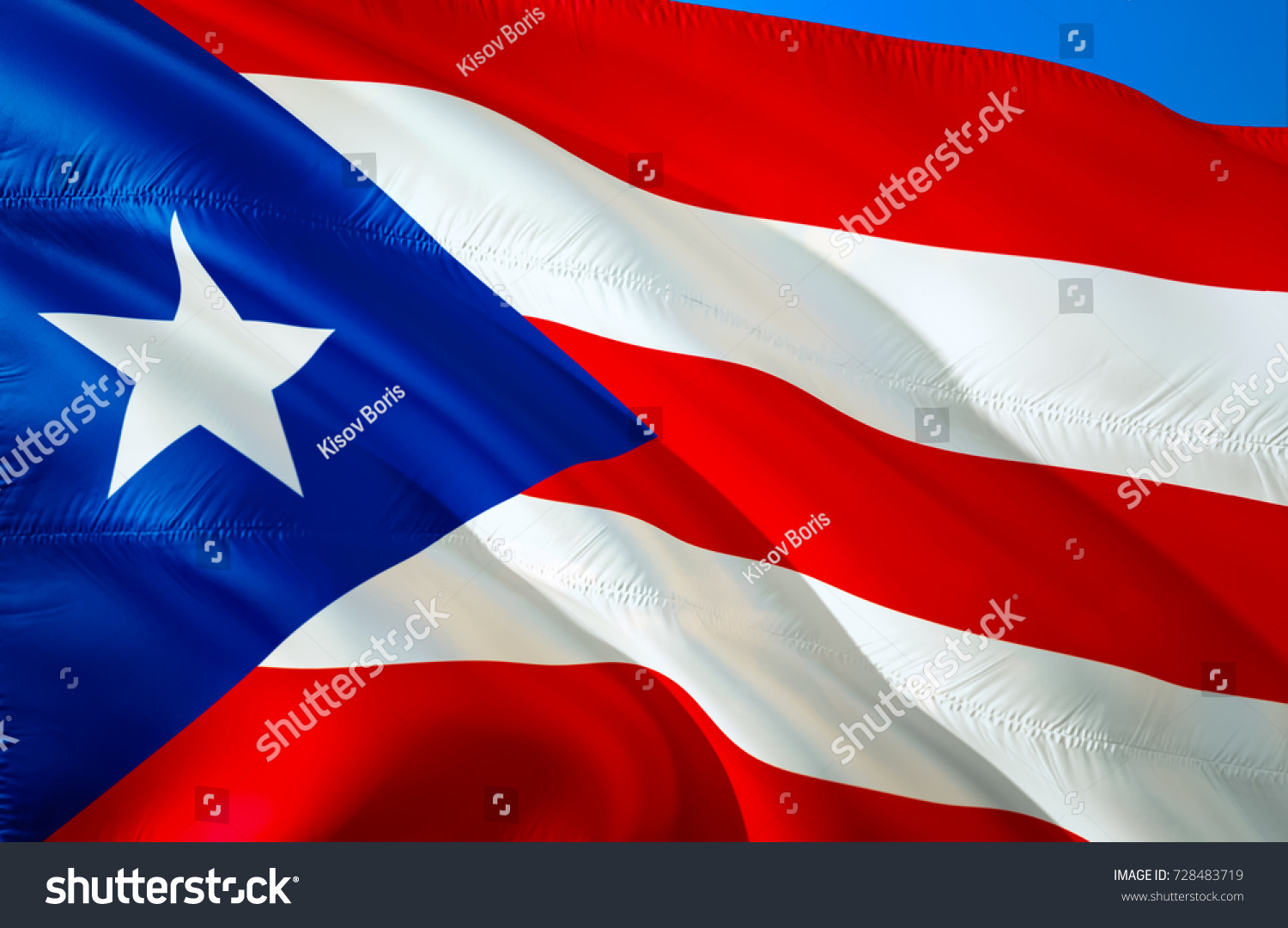 Puerto Rico Flag Flag Puerto Rico Stock Illustration 728483719