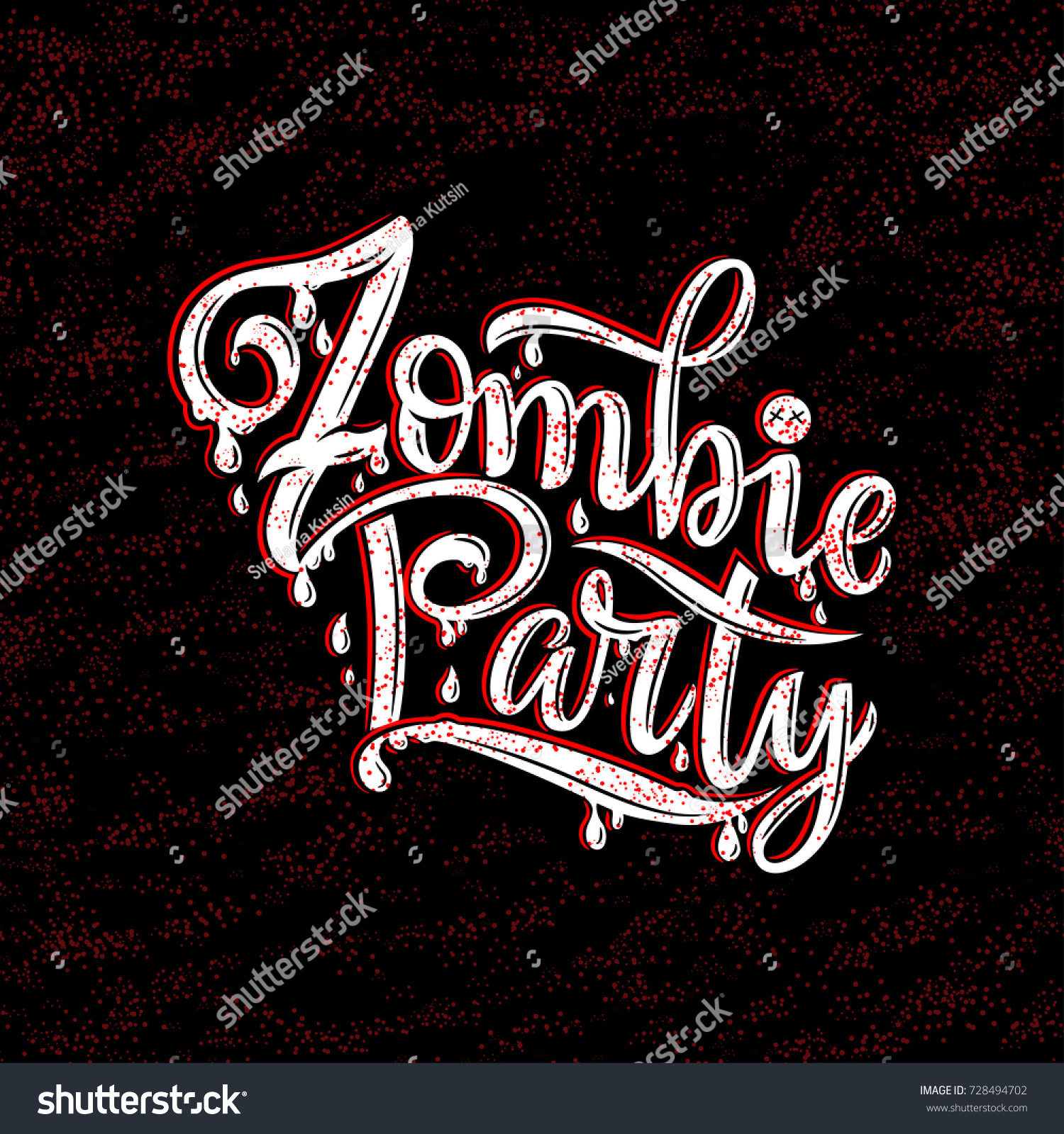 Vector Illustration Zombie Party Text Party Stock Vector 728494702 ...