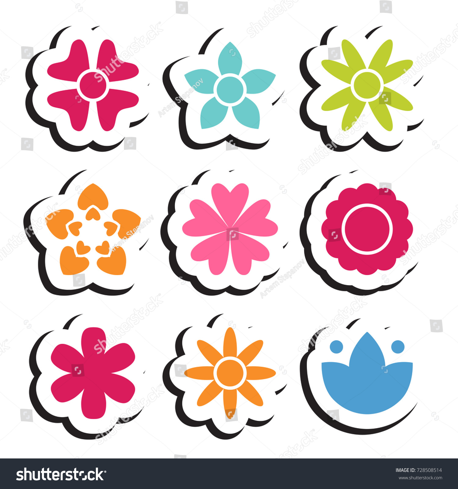 Flower Sticker Icon Collection Daisy Symbol Stock Vector Royalty