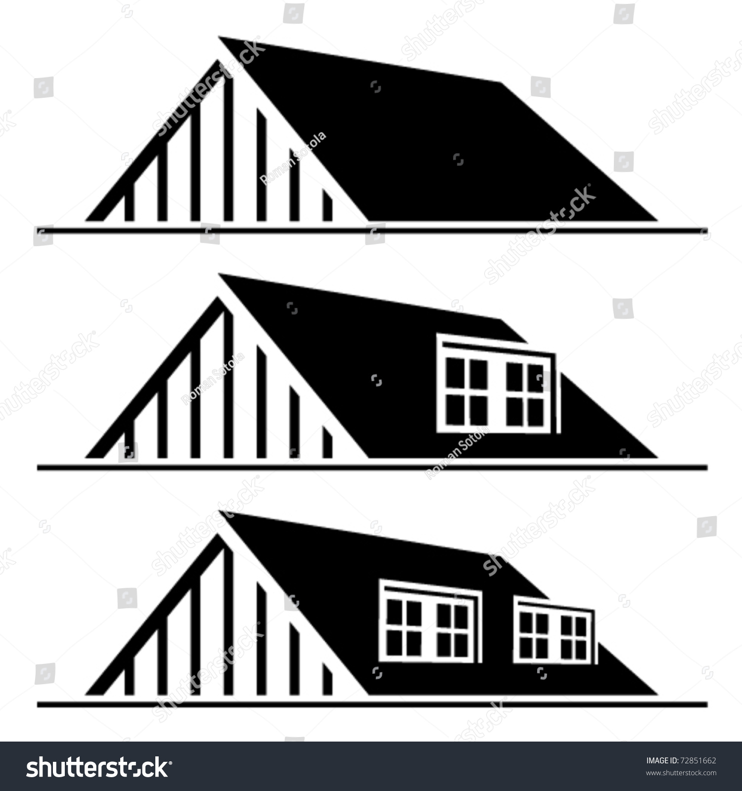 Vector Black House Roof Silhouettes Stock Vector 72851662