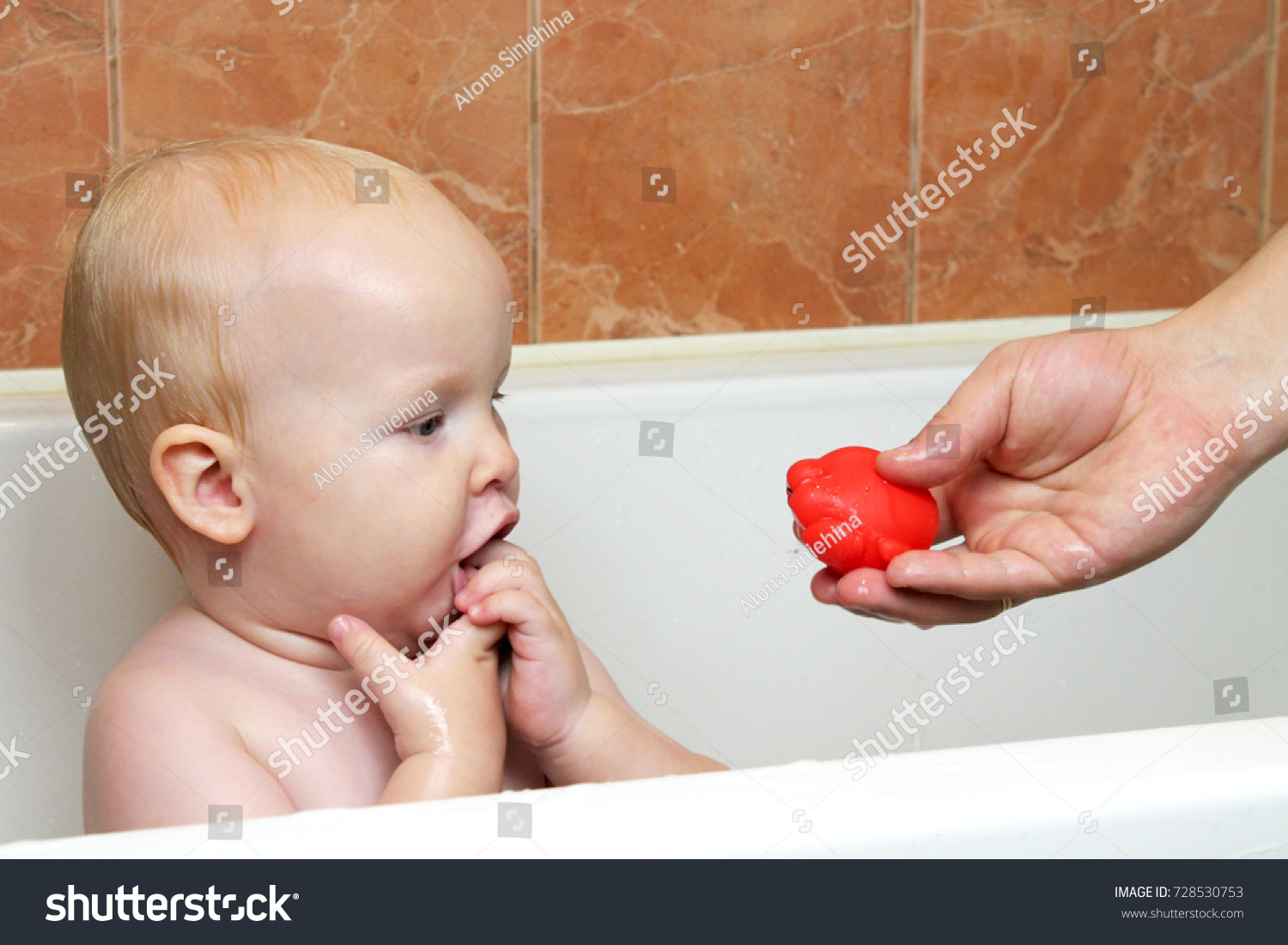 Happy Laughing Baby Taking Bath Playing Stock Photo (Royalty Free ...