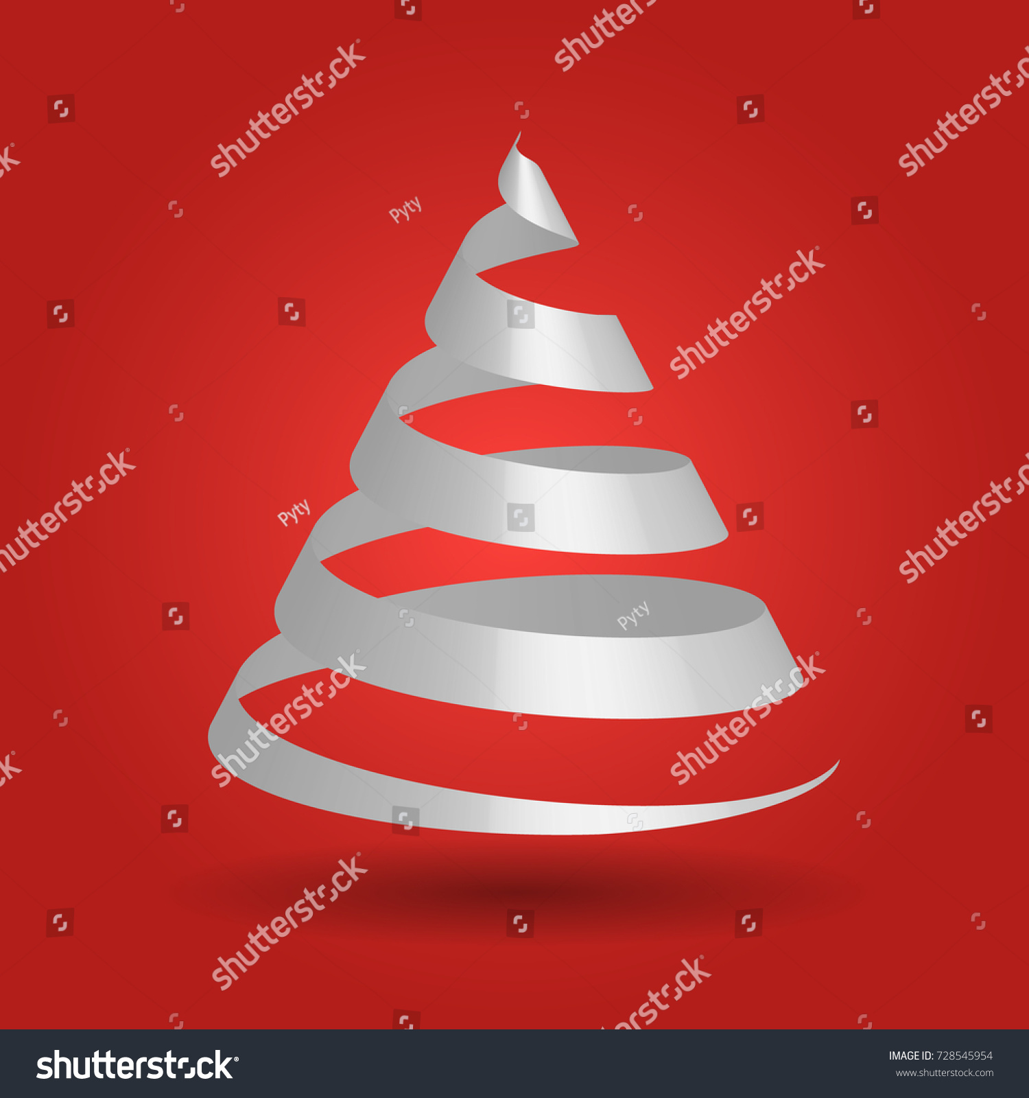 Simple Red Paper Ribbon Folded Shape Stock Vector Royalty Free