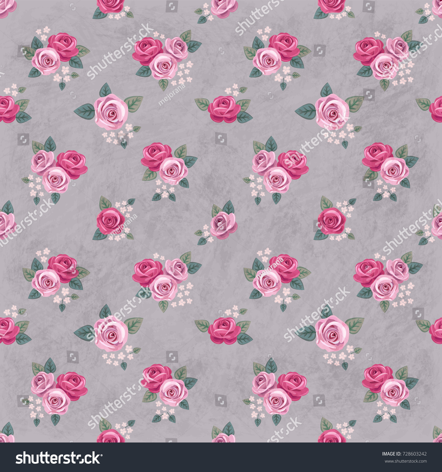 Seamless Floral Vintage Romantic Pattern With Pink Roses On Gray Shabby Background Retro Wallpaper Style Chic Design Perfect For Scrapbooking