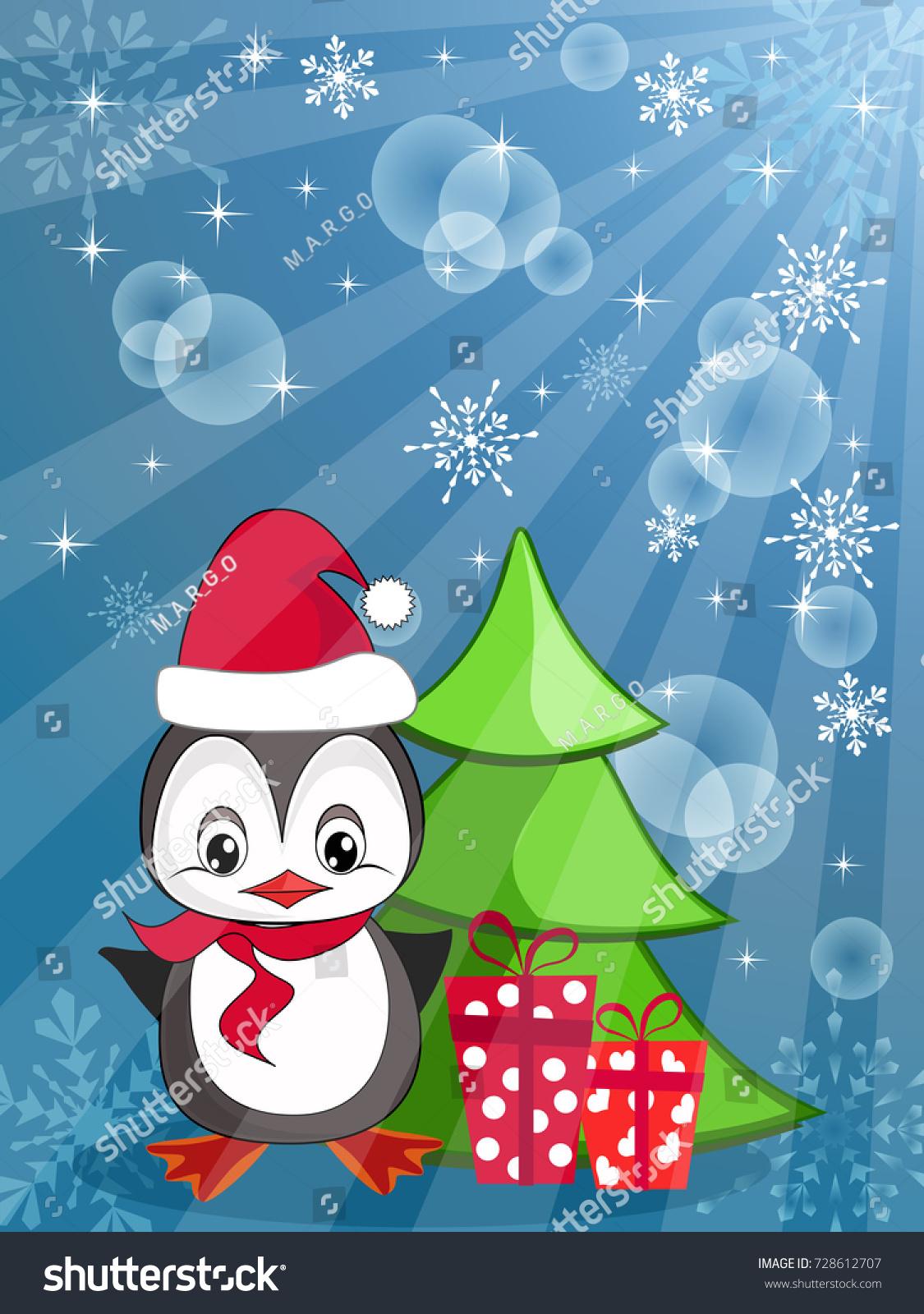 Baby Gift Vector : Cute cartoon baby penguin gifts christmas stock vector