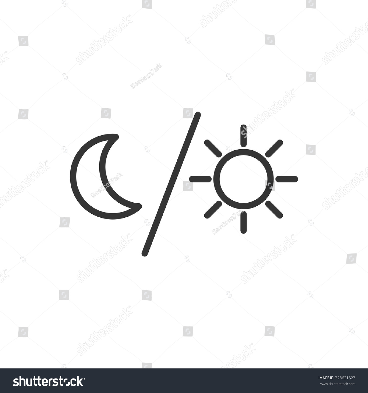 Outline Moon Sun Icon Illustration Vector Stock Vector Royalty Free
