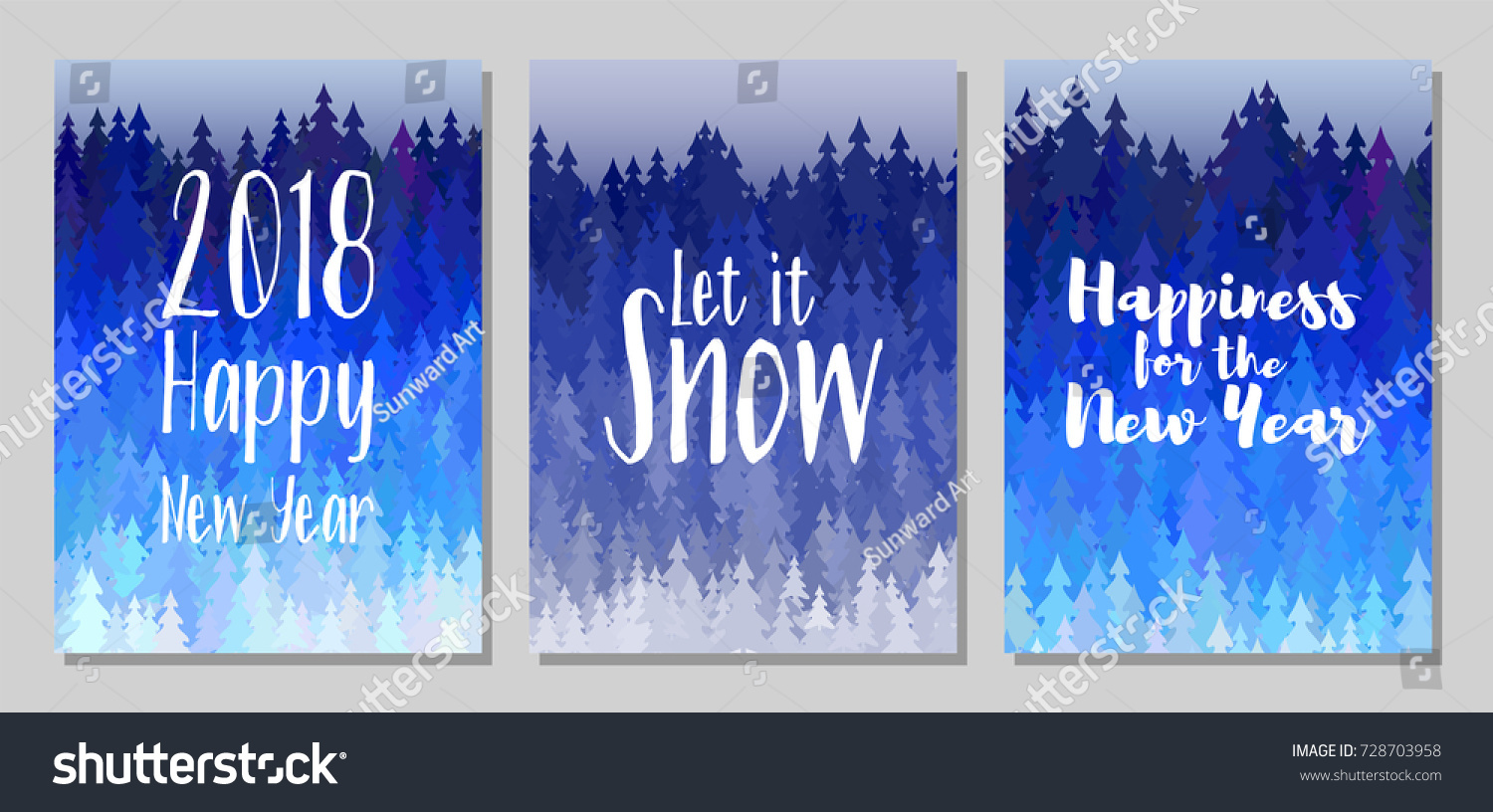 2018 happy new year card let it snow happiness wish winter forest panorama