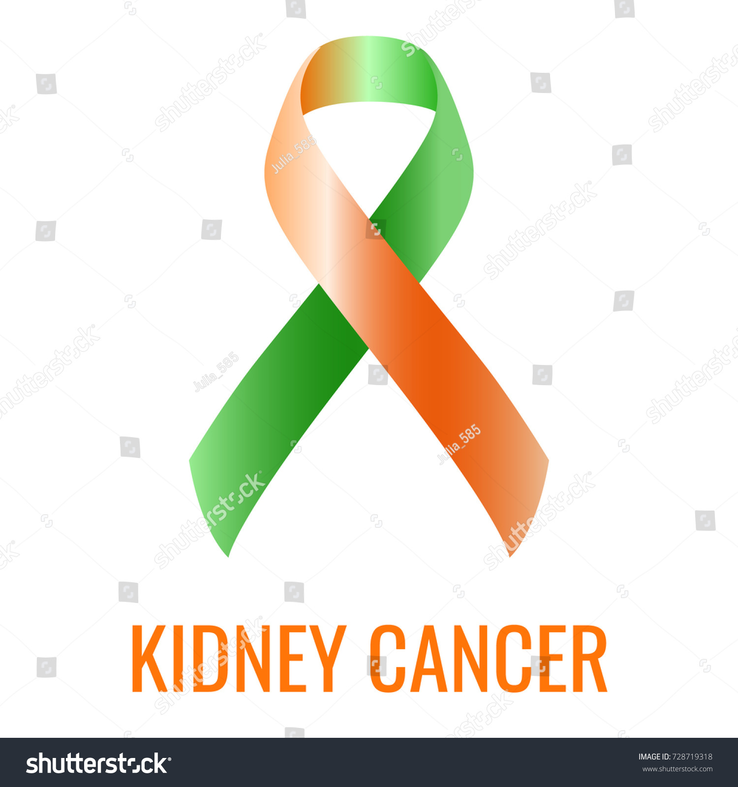 Kidney Cancer Ribbon Isolated On White Stock Vector Royalty Free