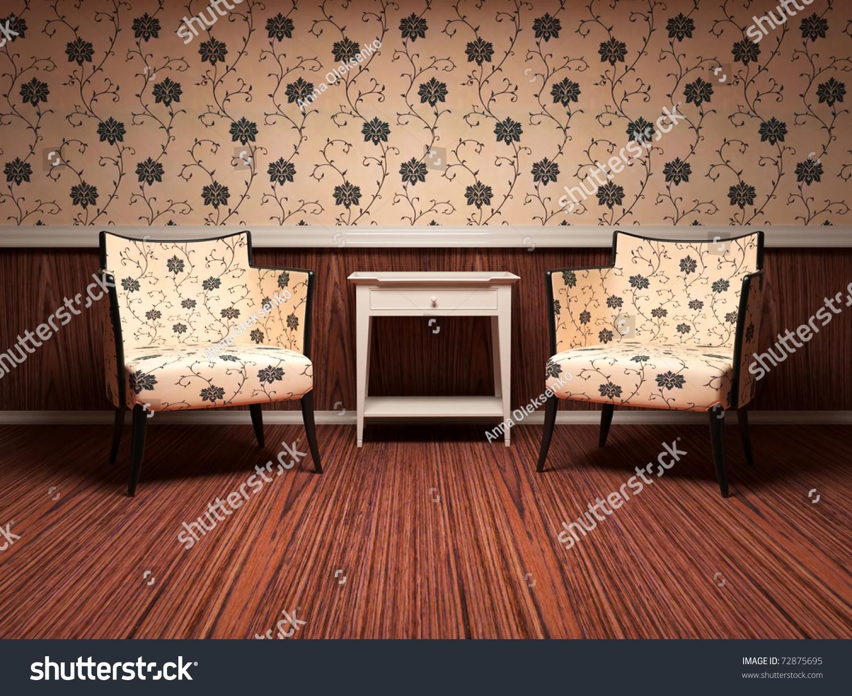 Floral Wallpaper Living Room Images Stock Photos Vectors