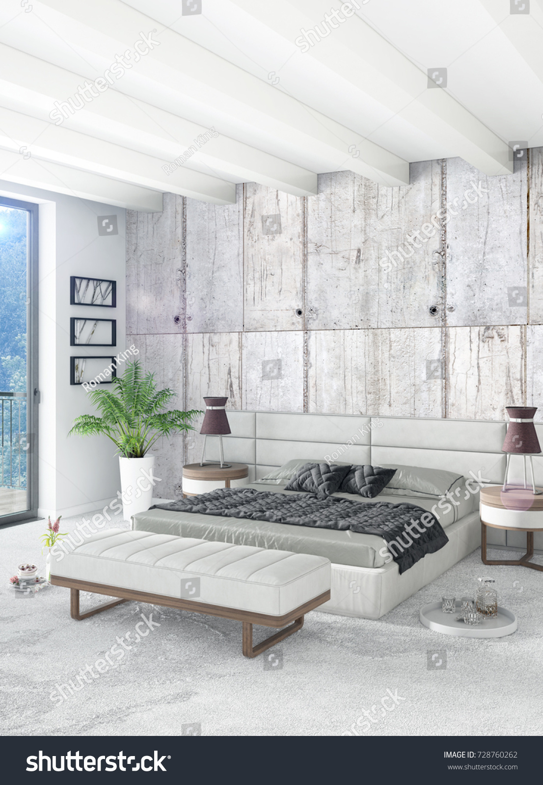 Loft bedroom in modern style interior design with eclectic wall and stylish sofa 3d rendering ez canvas