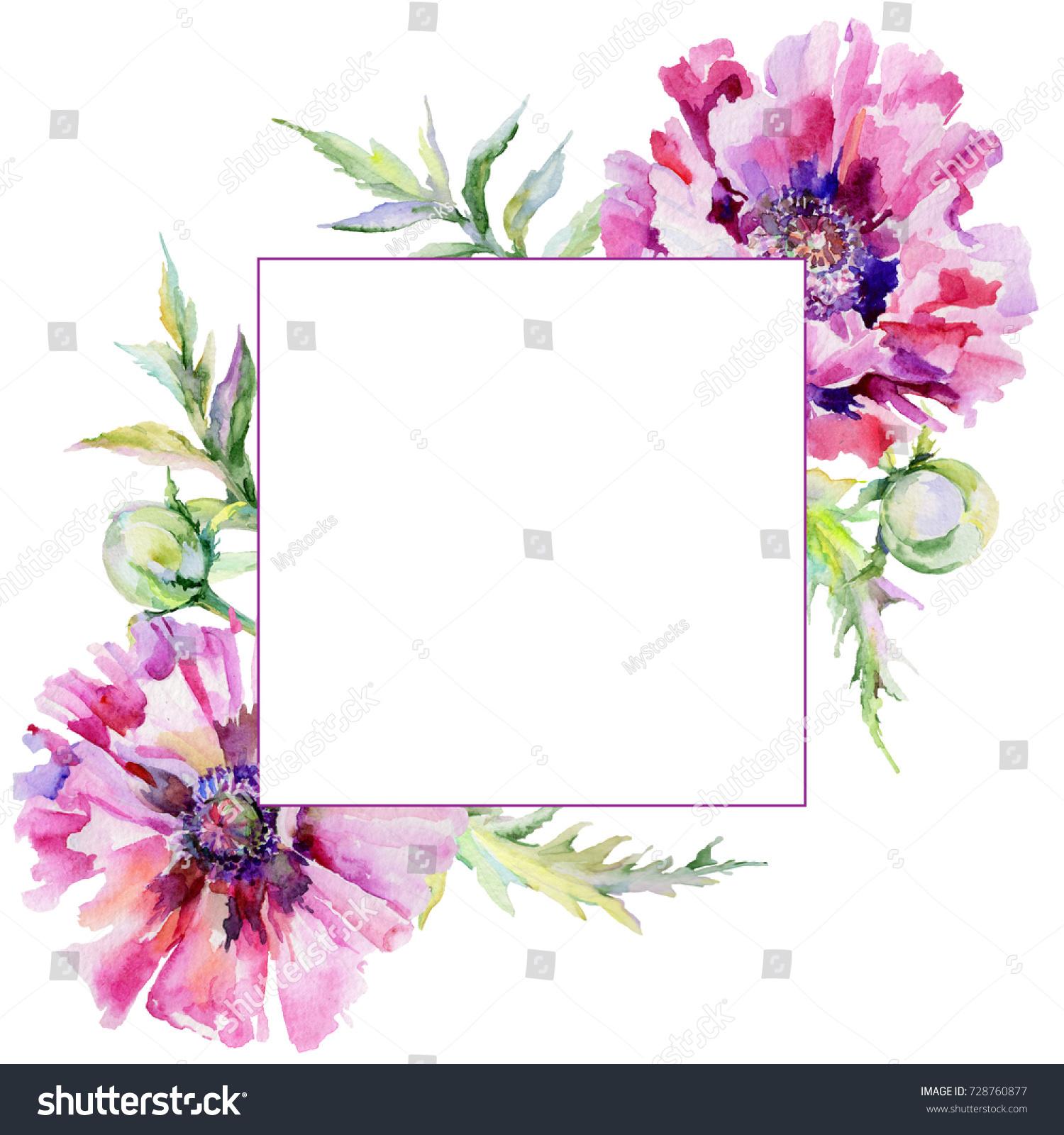 Wildflower Poppy Flower Frame Watercolor Style Stock Illustration