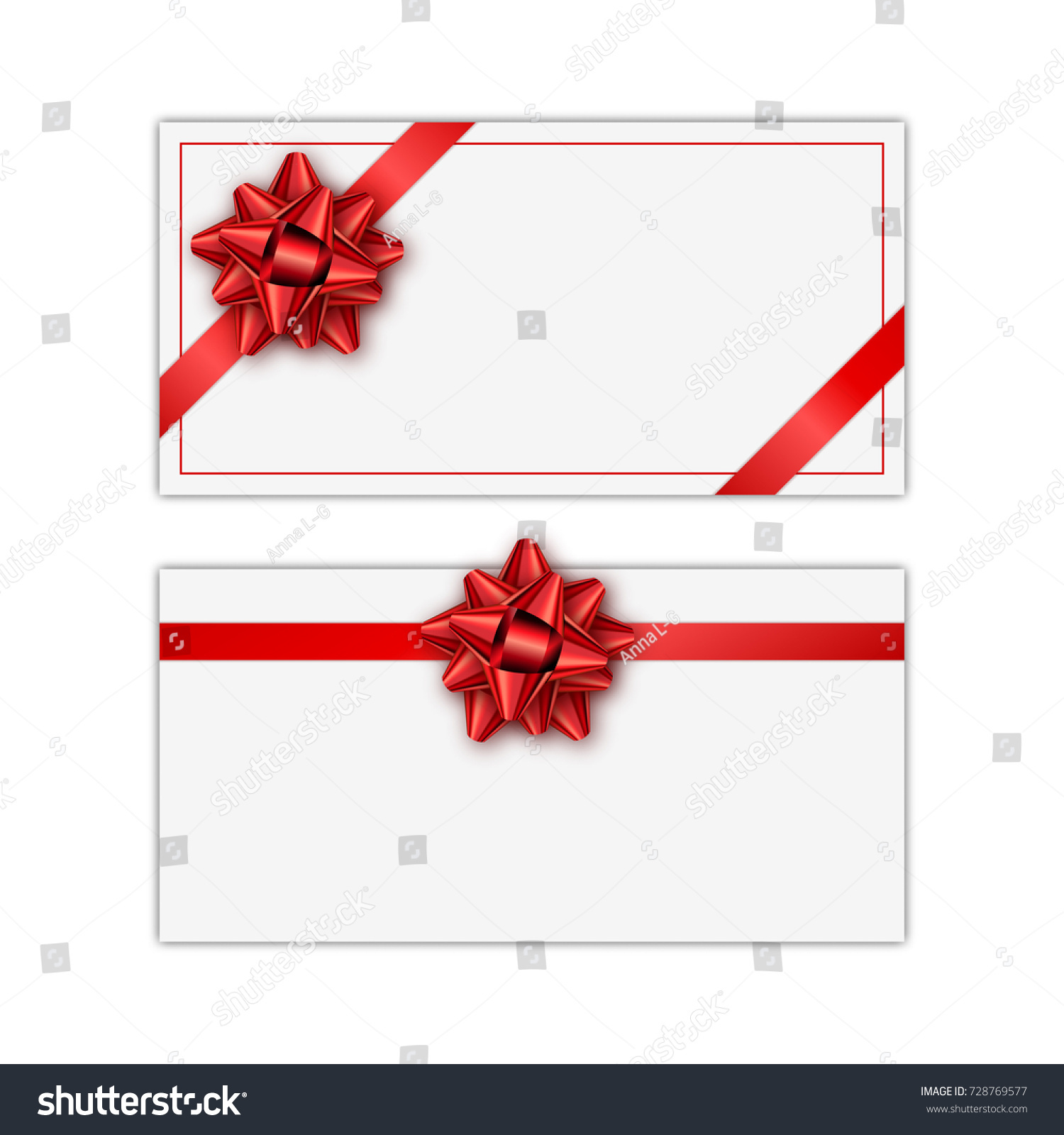 Set White Holiday Gift Card Red Stock Vector (2018) 728769577 ...