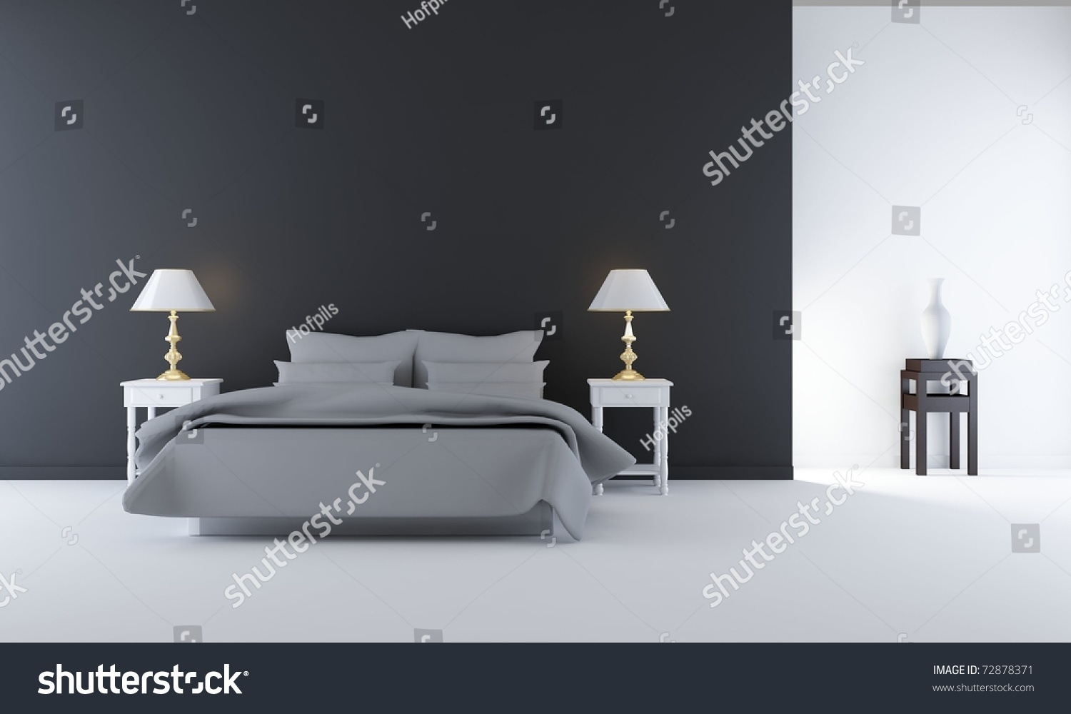 Living Room Setting Living Room Setting Simple Bedroom Scene Stock Illustration