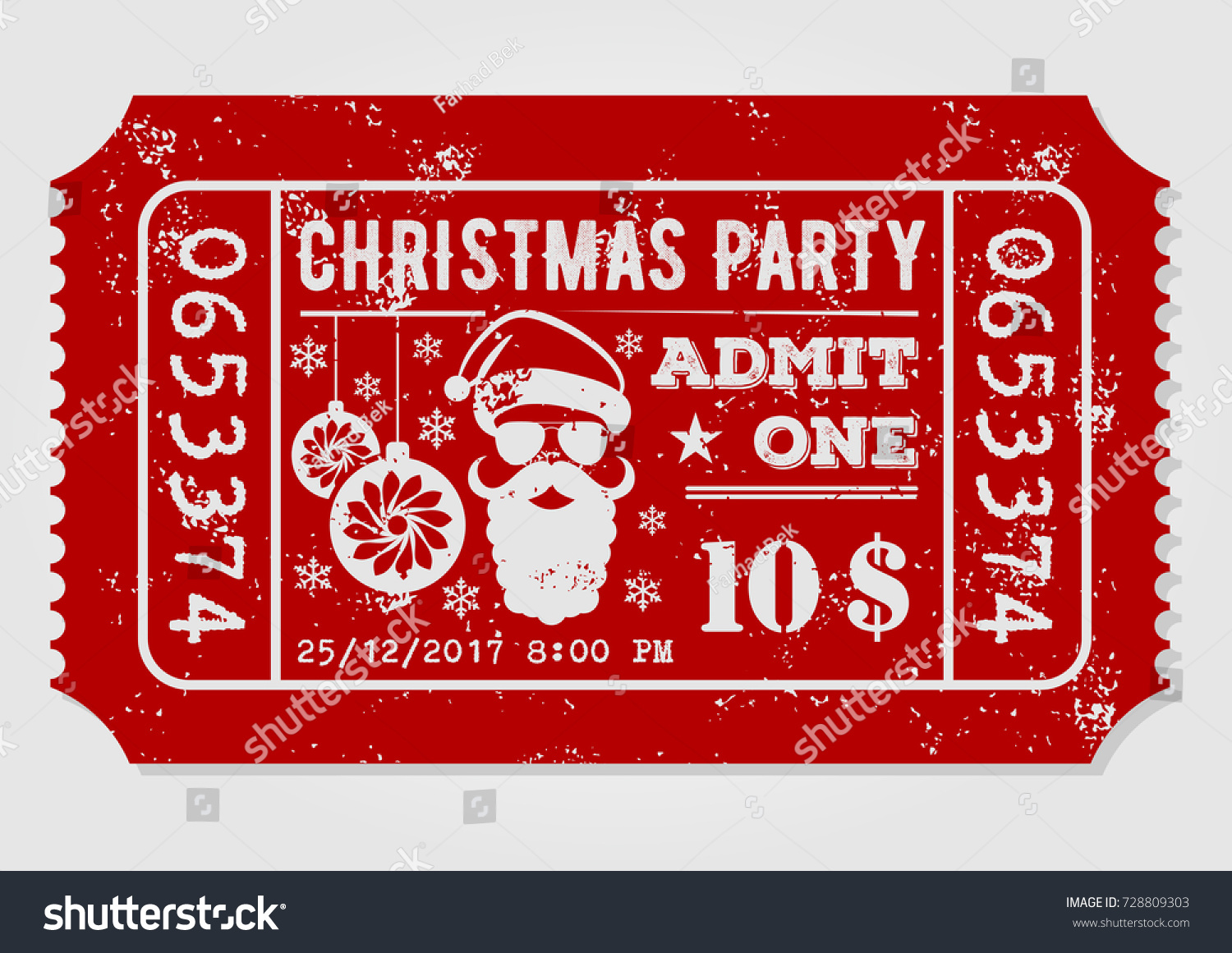 Vintage Christmas Party Invitation Design Template Stock Vector ...