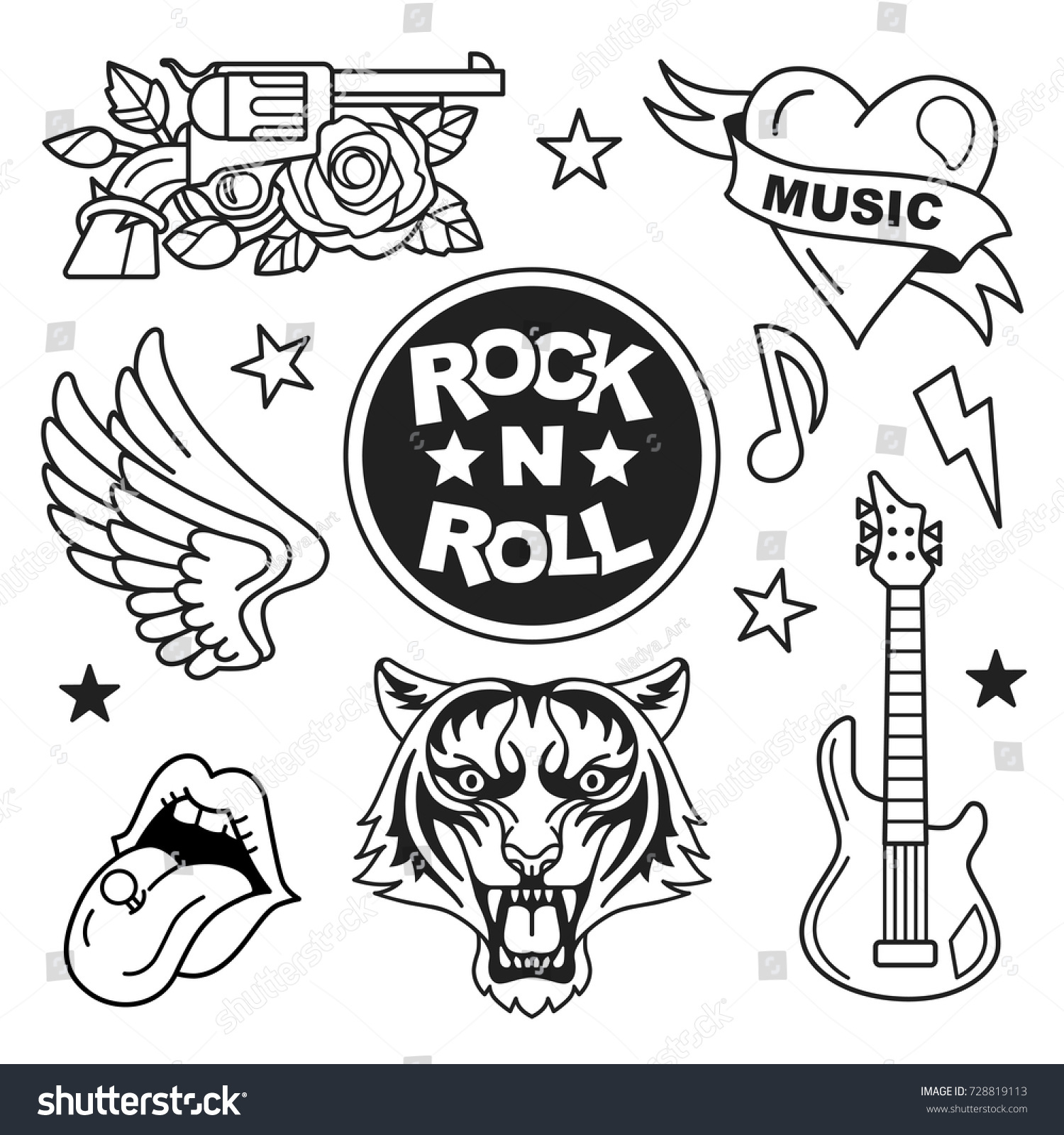 Rock roll patches collection vector illustration stock vector rock and roll patches collection vector illustration of rock music badges and symbols such biocorpaavc Image collections