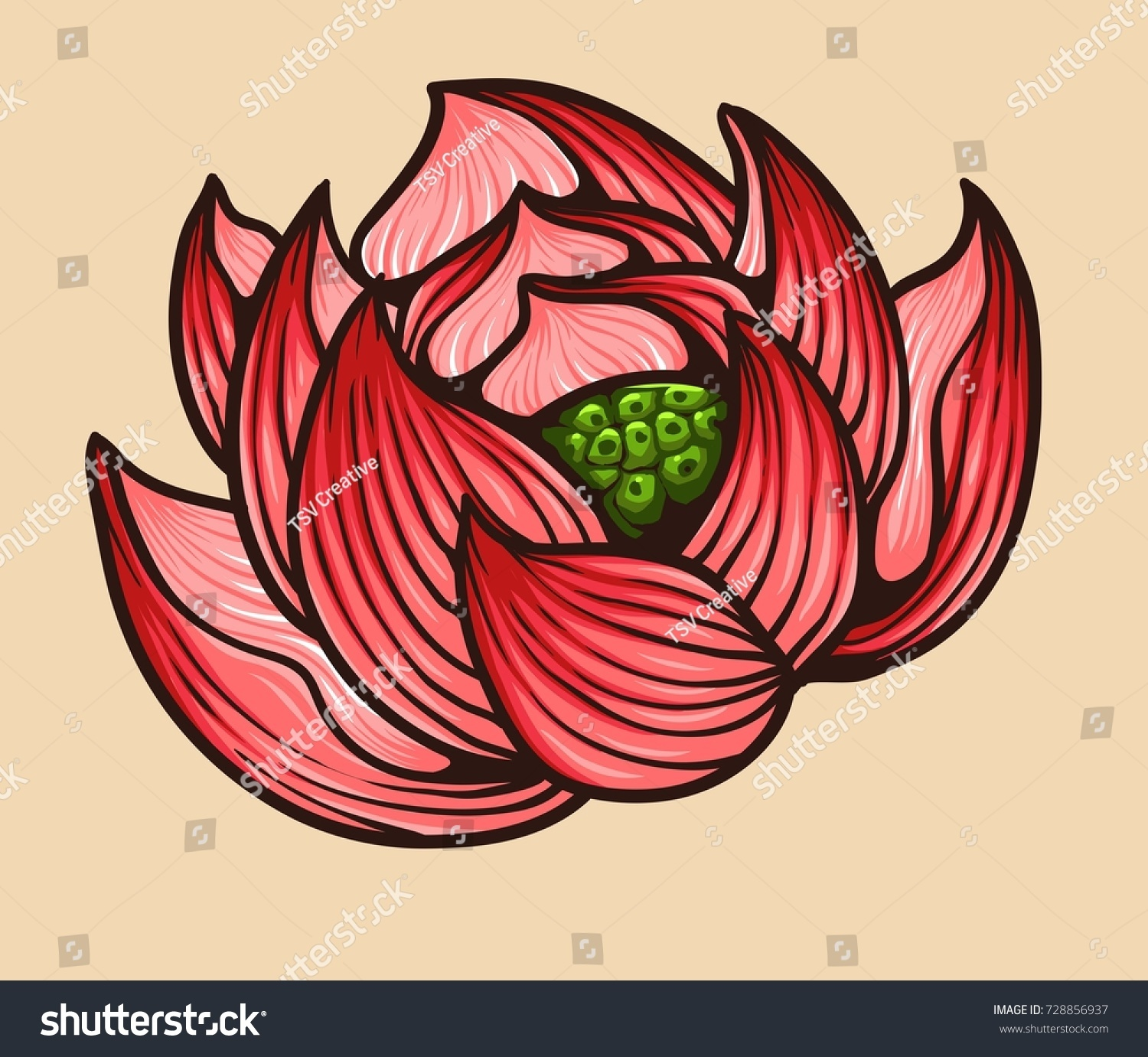 Vector illustration japanese lotus flower tattoo stock vector vector illustration of japanese lotus flower tattoo style drawing izmirmasajfo