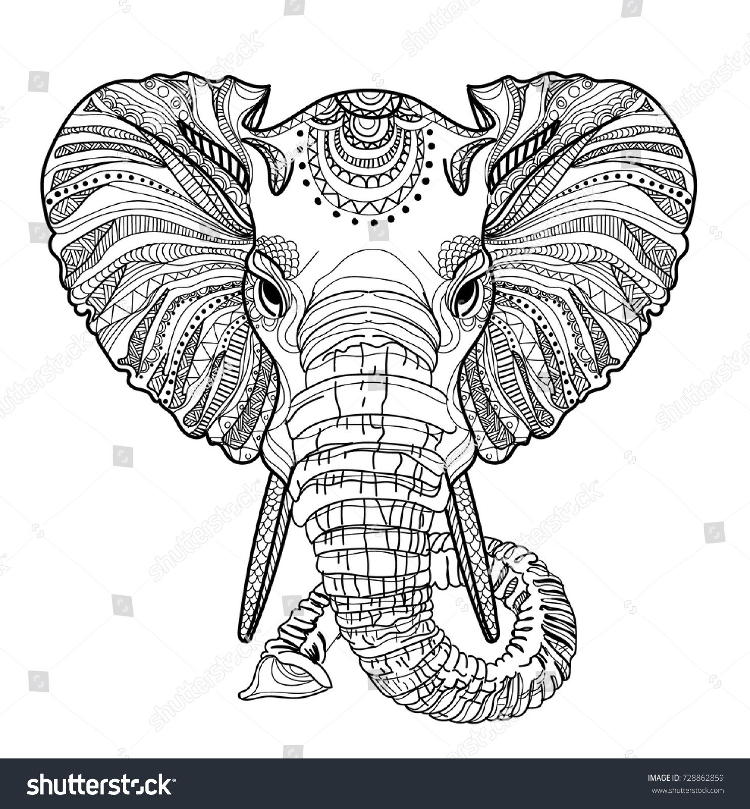 Head Elephant Meditation Coloring Mandala Large Stock Vector ...
