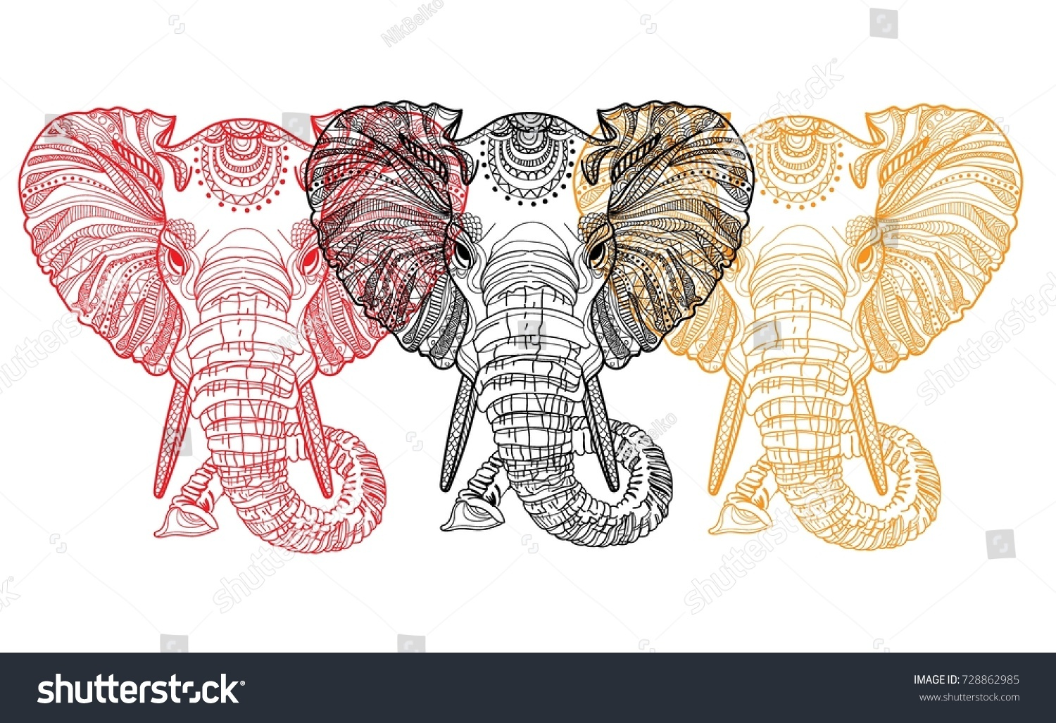 The Head Of An Elephant Meditation Coloring Mandala Large Horns And