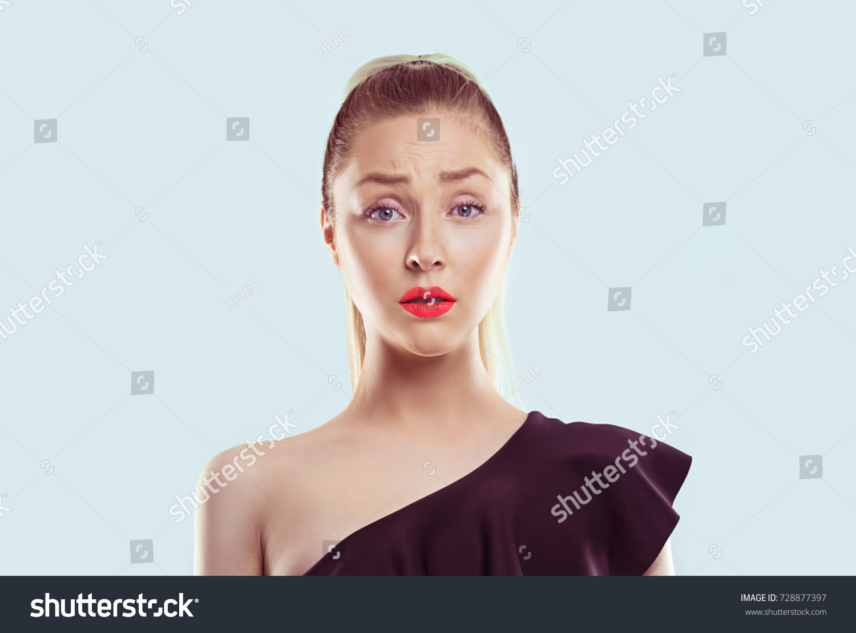 sad closeup portrait frustrated stressed woman stock photo edit now