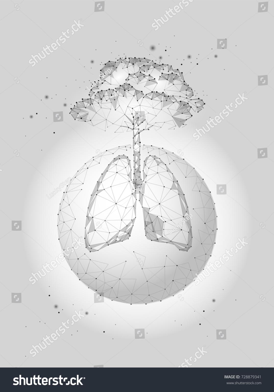 Low Poly Planet Earth Lungs Tree Stock-Vektorgrafik (Lizenzfrei ...