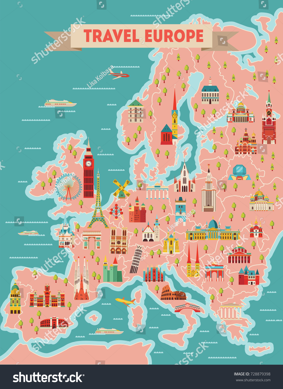 Europe Travel Map Poster Travel Tourism Stock Vector Royalty Free
