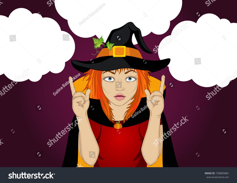 halloween girl hat witch costume gesture stock vector 728885884