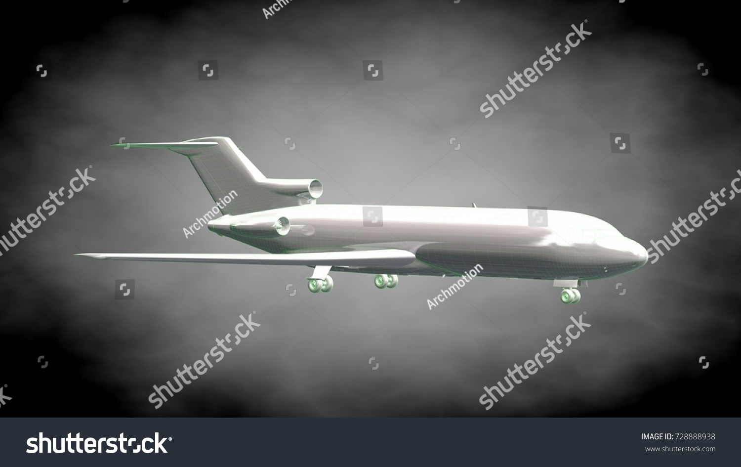 3d rendering reflective airplane green outlined stock illustration 3d rendering of a reflective airplane with green outlined lines as blueprint on dark background malvernweather Choice Image