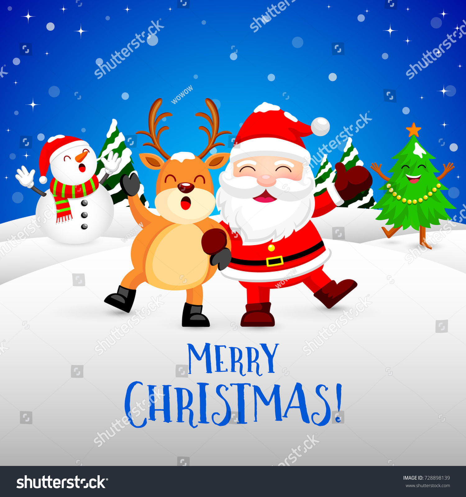 funny christmas characters design on snow santa claus snowman xmas tree and reindeer - Funny Merry Christmas