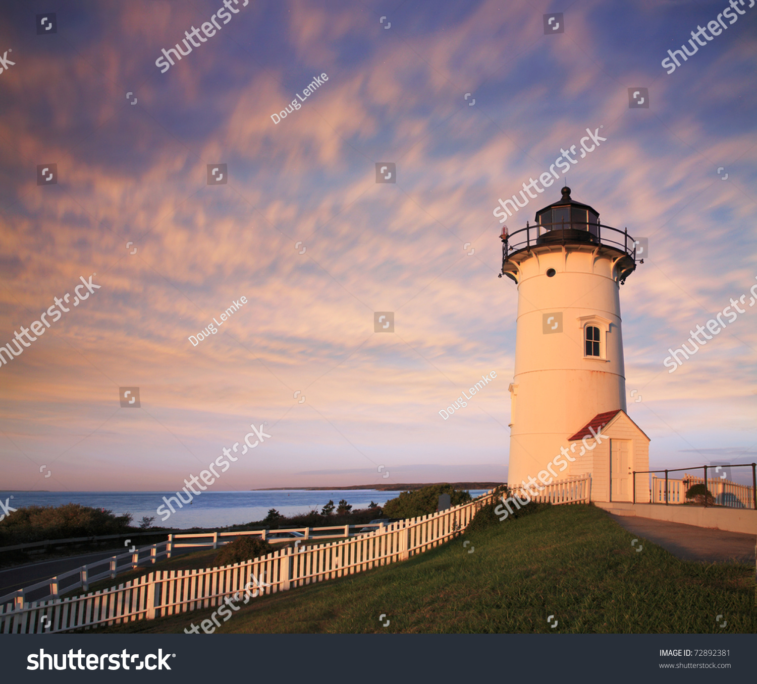 The Nobska Point Lighthouse Tower Bathed In Early Morning