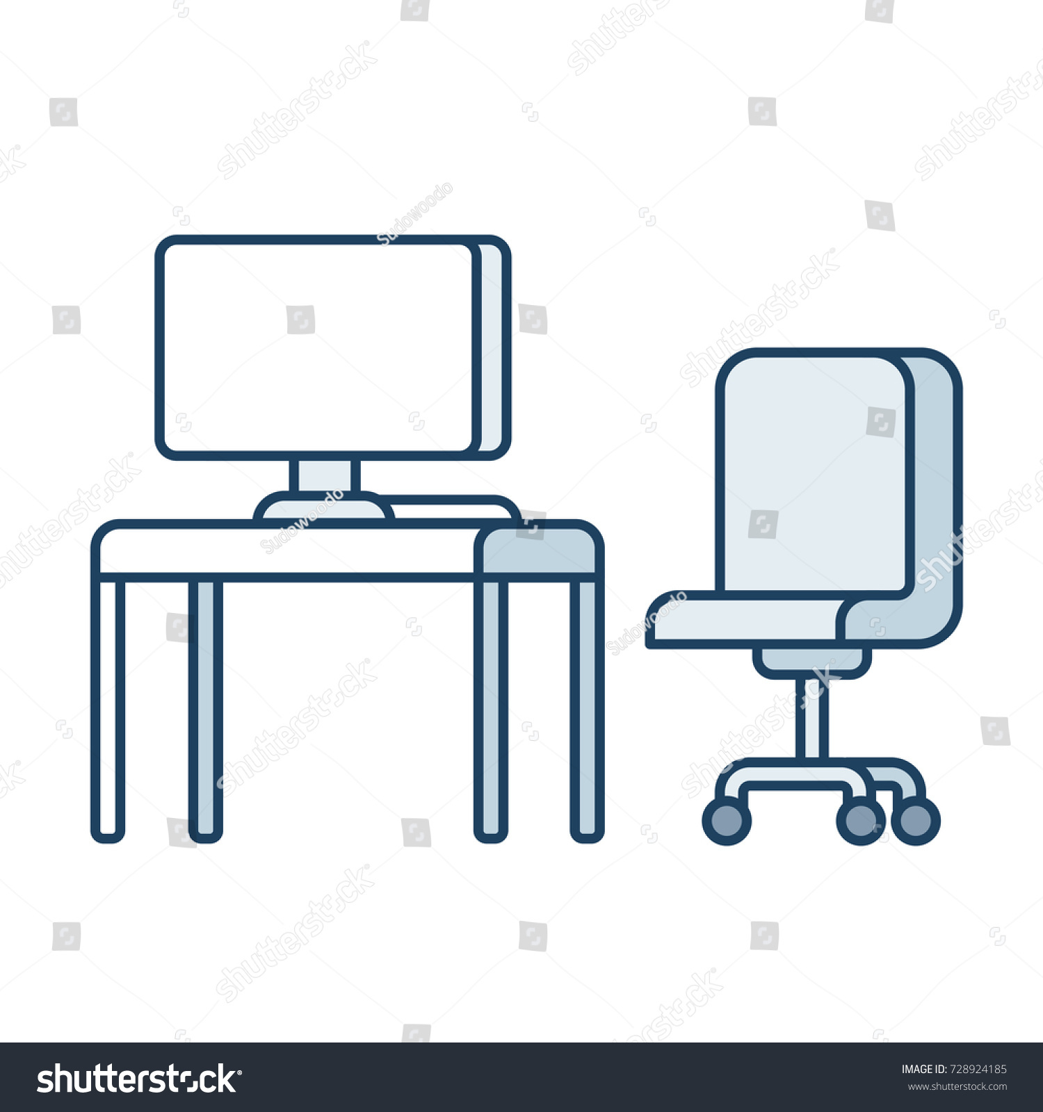 Diagram Of Computer Chair Electrical Wiring Diagrams Cpu Parts Office Desk Simple Stock Vector Royalty Free