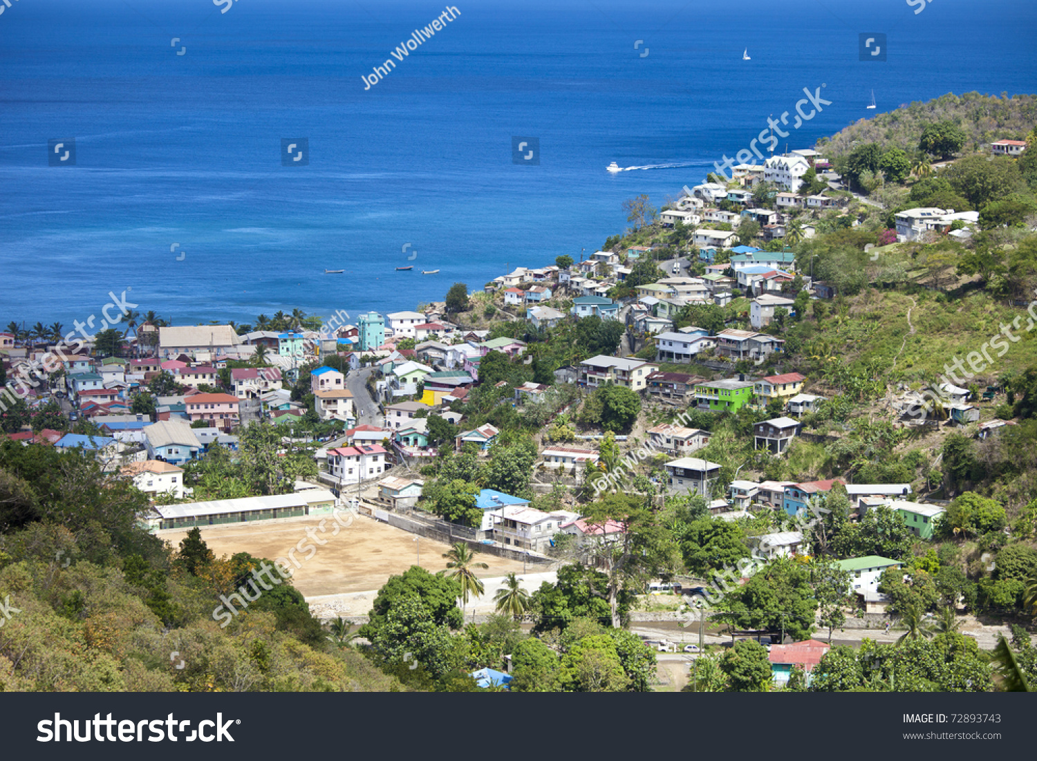 St Lucia Caribbean Sea: Overhead View Of Castries, St Lucia, And Caribbean Sea