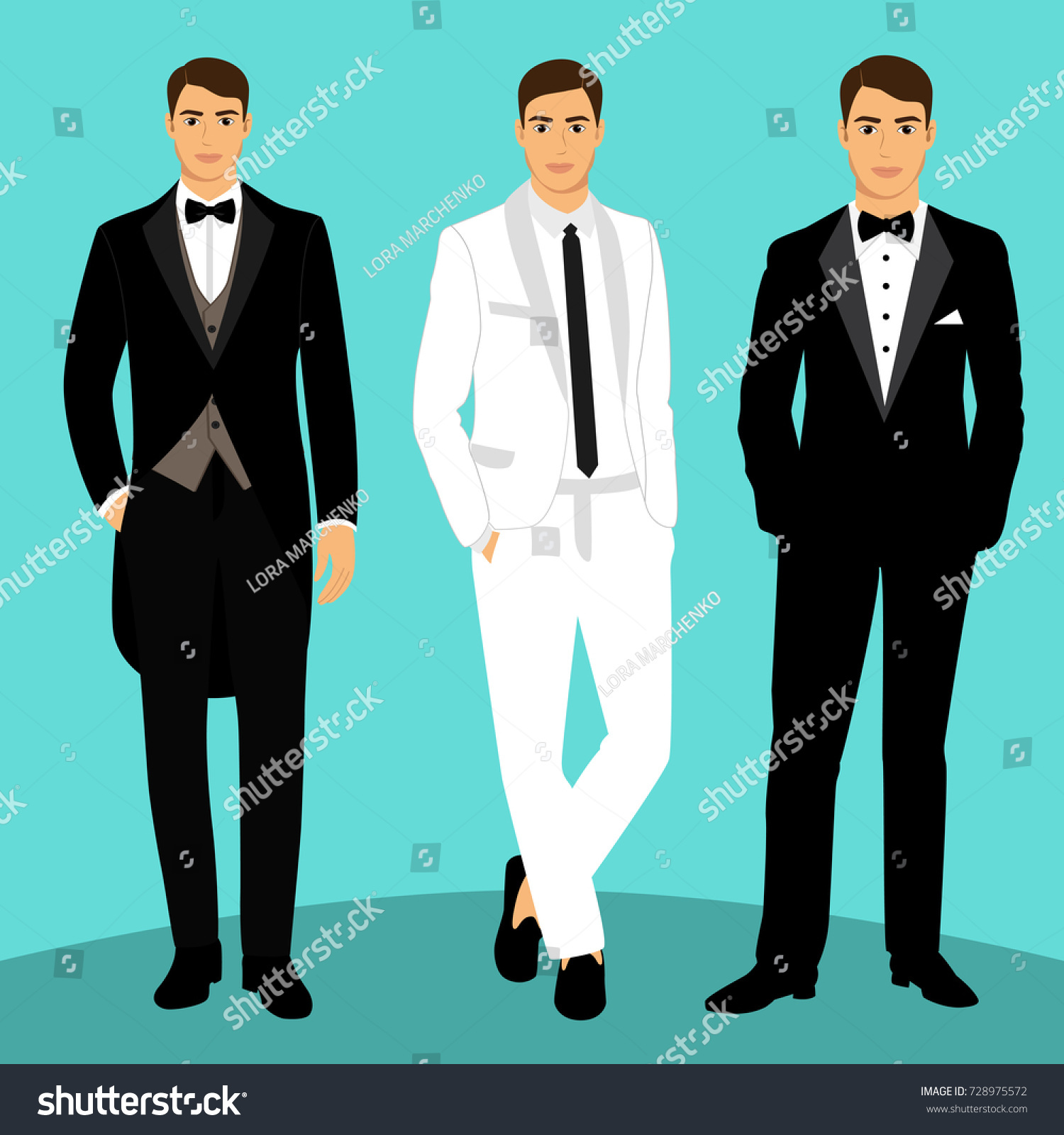Wedding Mens Suit Tuxedo Collection Groom Stock Illustration ...