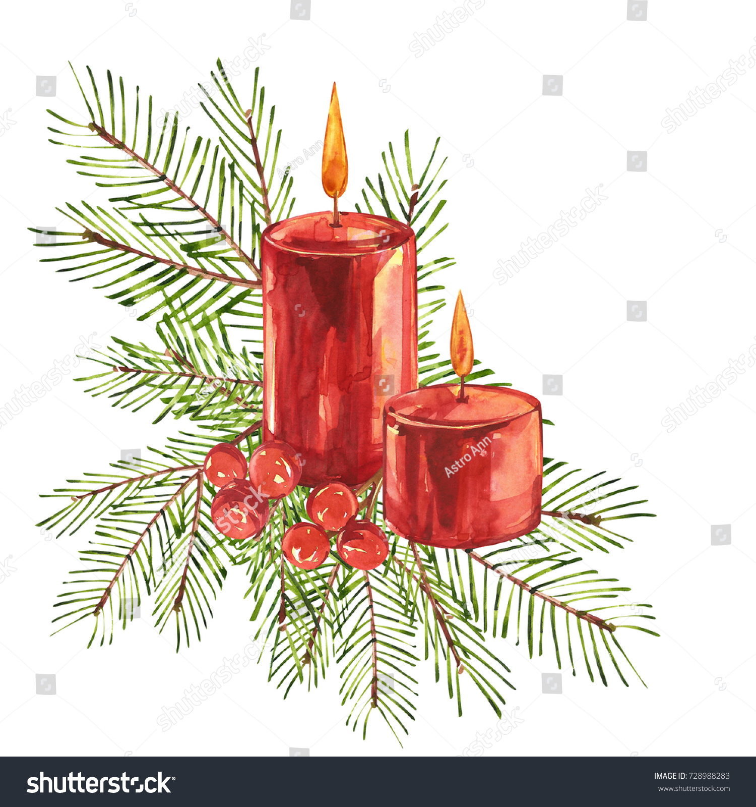 Vintage Christmas Candles.Vintage Christmas Illustrations Christmas Candle Tree Stock
