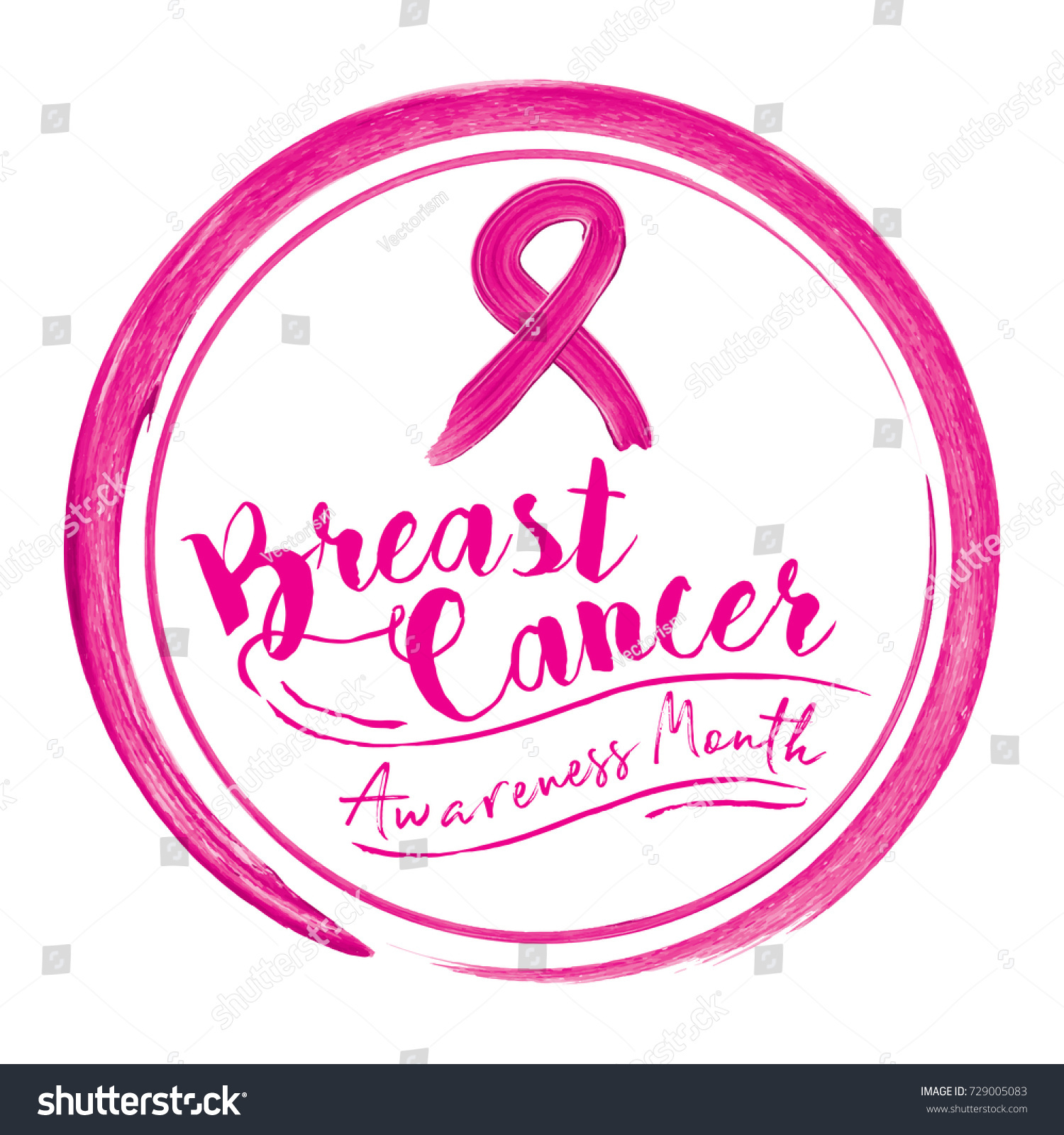 Breast cancer awareness month calligraphy acrylic stock vector breast cancer awareness month calligraphy with acrylic brush pink ribbon symbol for poster buycottarizona Images