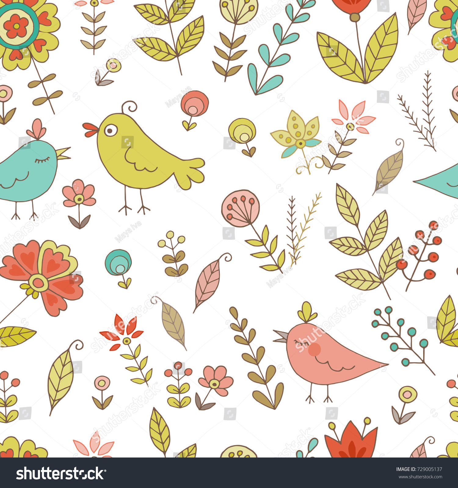 Vintage seamless pattern for your design with birds and flowers ...