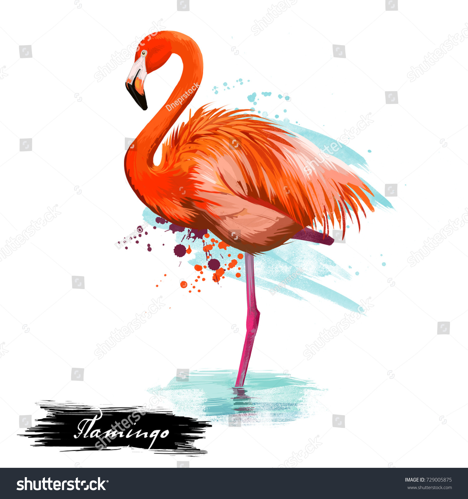 Flamingo Type Wading Bird Digital Art Stock Illustration 729005875