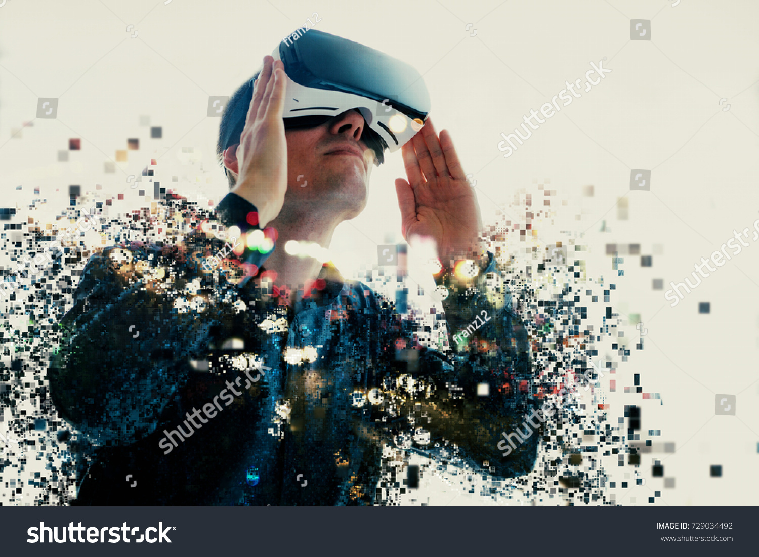 e69c100ad9bd A Person In Virtual Gles Flies To Pixels The Man With Of Reality