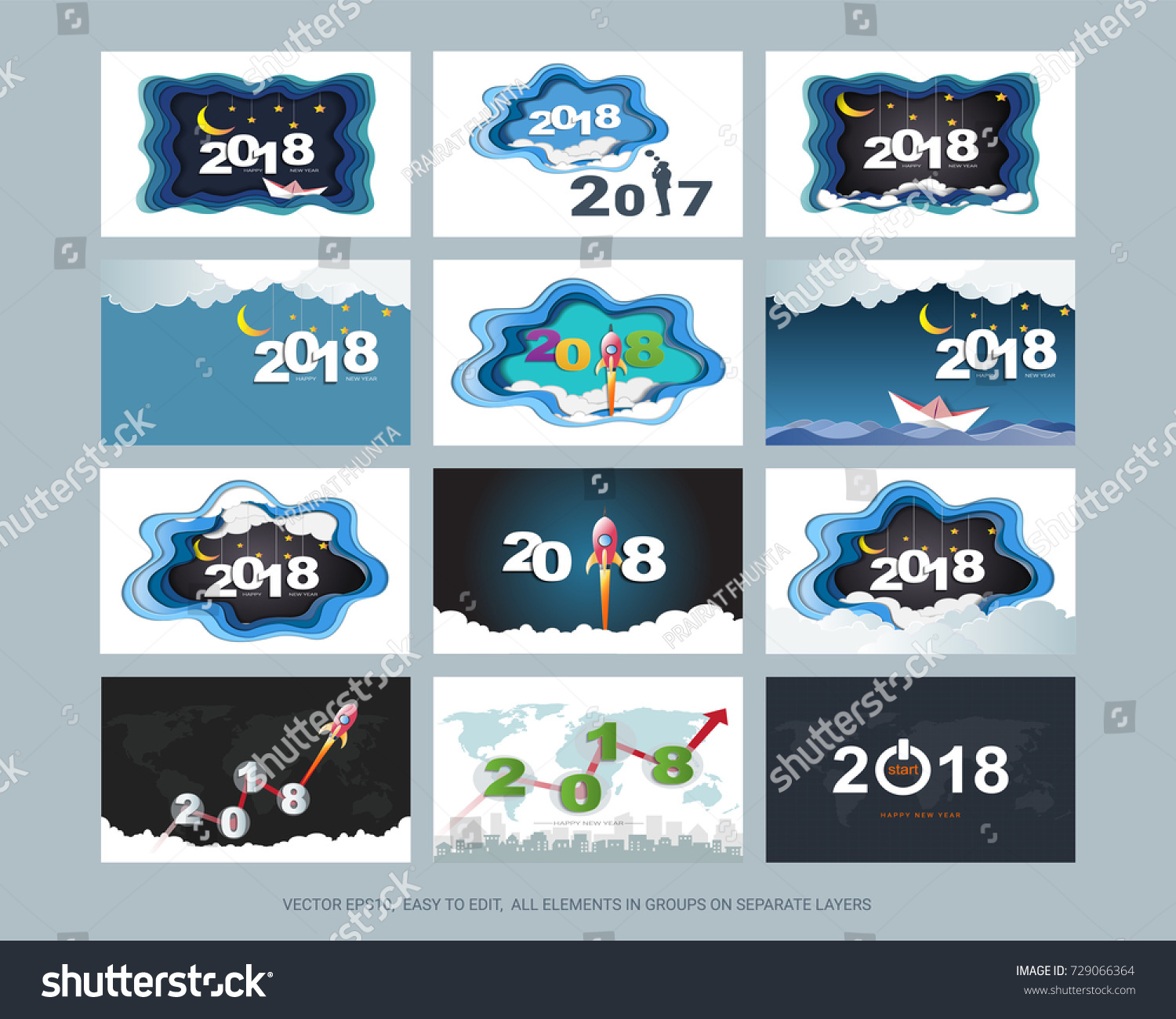 Set Happy New Year Cards 2018 Stock Vector Royalty Free 729066364