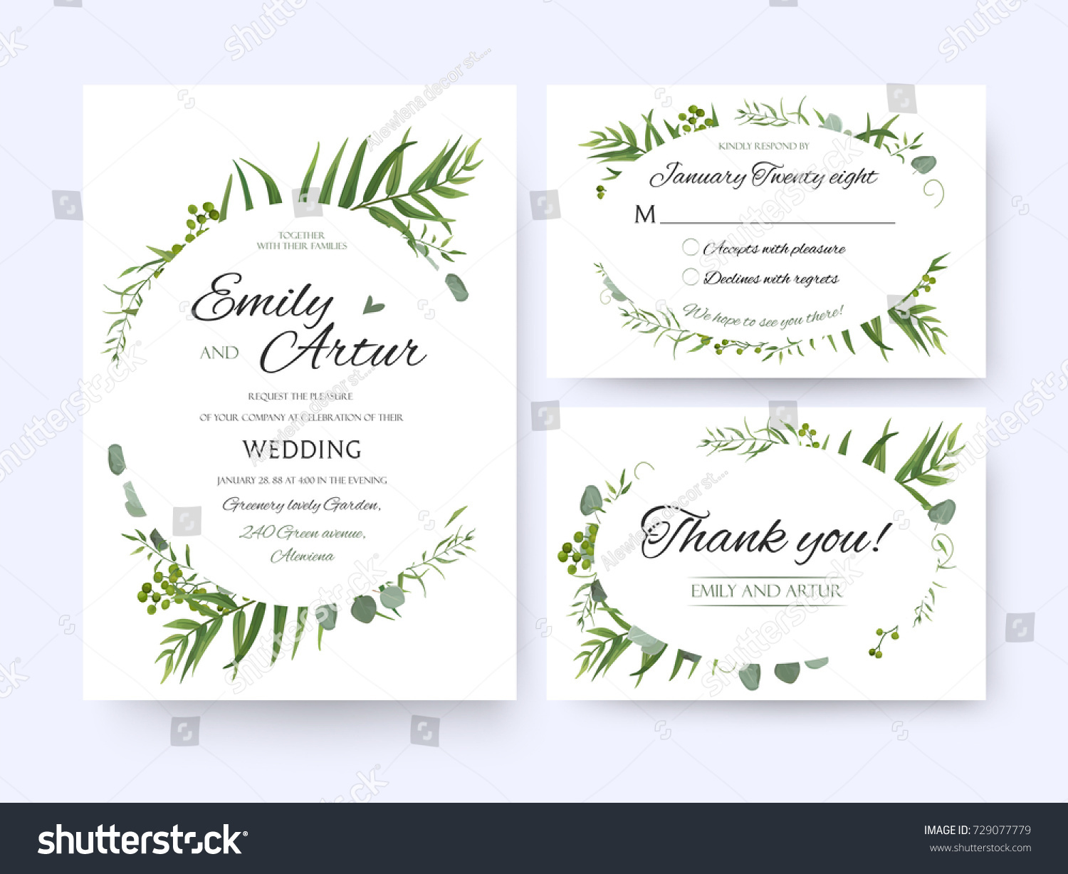 wedding invite invitation rsvp thank you card vector floral greenery design forest fern frond - Wedding Invitation Rsvp